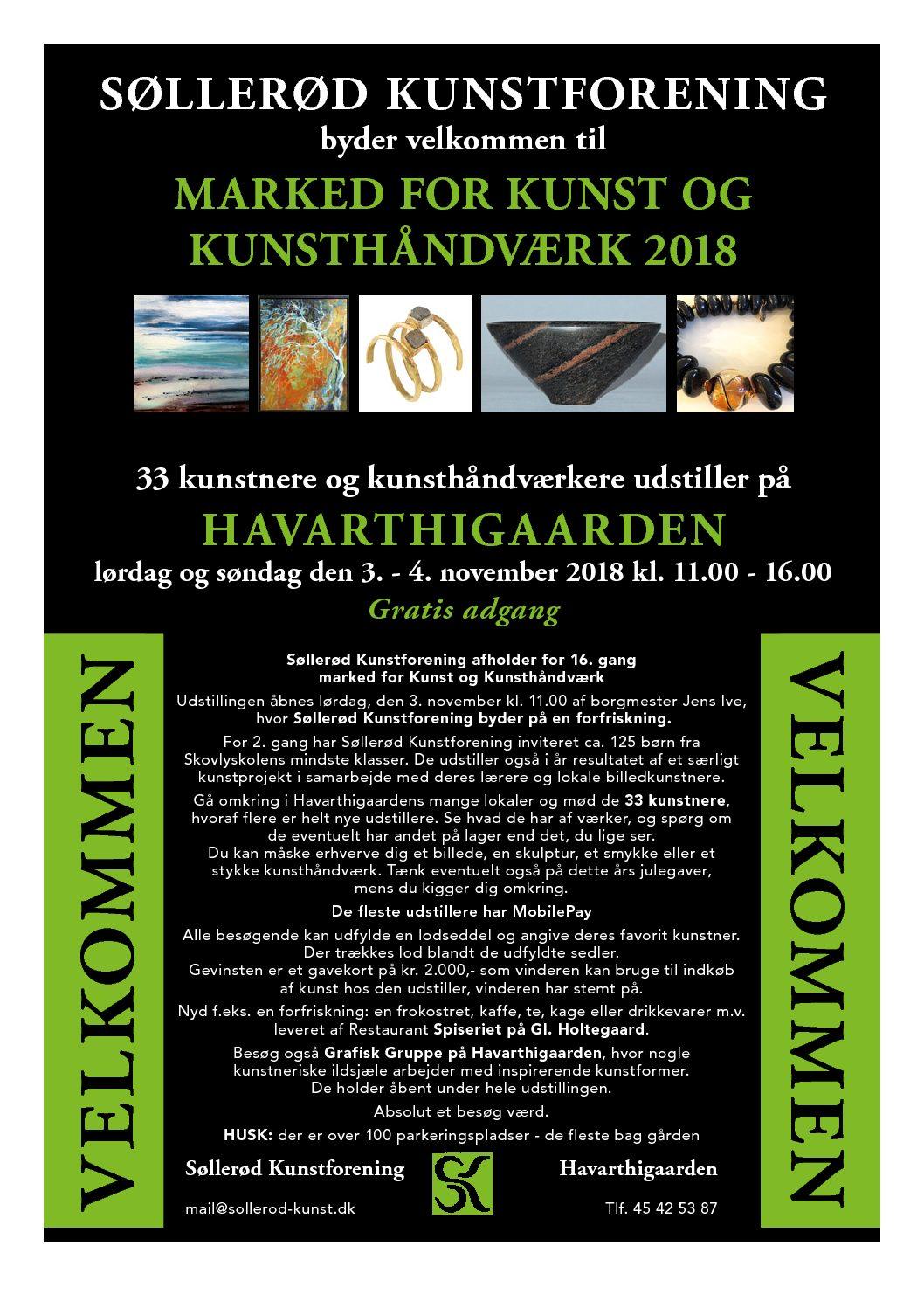 Søllerød Kunstnermarked lørdag og søndag den 3. – 4. november 2018