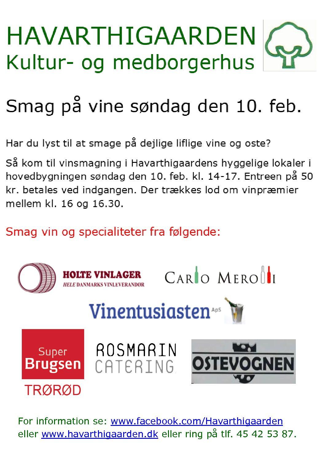 Vinsmagning søndag den 10. februar i Hovedbygningen A